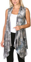 Brooke & Emma Women's Sweater Vests DT35 - Gray Tie-Dye Drape-Front Open Vest - Women