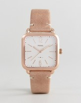 Fossil Es4254 Micah Square Leather Watch In Nude