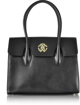 Roberto Cavalli Black Leather Double Handle Tote Bag