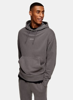 Topman Washed Charcoal Grey Berlin Hoodie