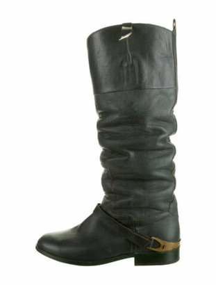 Golden Goose Charlye Ruched Knee-High Boots Green