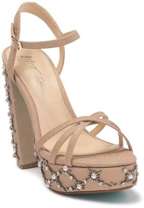 Betsey Johnson Eliot Beaded Block Heel Platform Sandal