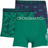 Crosshatch Mens Pendley Three Pack Boxers Ultramarine Green/Black Iris/Ultramarine
