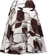 Marni Pleated printed cotton skirt