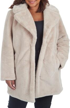 Rachel Roy Faux Fur Notch Lapel Coat