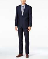 Kenneth Cole Reaction Men's Slim-Fit Tonal Dark Blue Shadow-Check Suit with Finished Hem