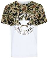 Converse White And Green Camouflage Print T-shirt