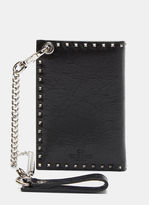 Valentino Studded Biker Chain Bi-fold Wallet In Black