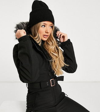 Protest Glamour softshell snowsuit in black Exclusive at ASOS