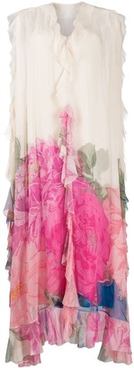Valentino Ruffled Floral Print Gown