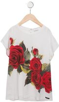 Dolce & Gabbana Girls' Rose Print Short Sleeve Top