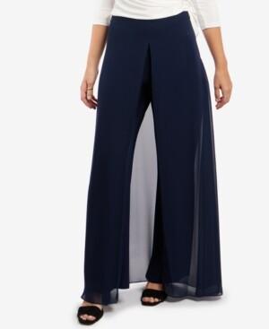 MSK Chiffon-Overlay Walk-Through Pants