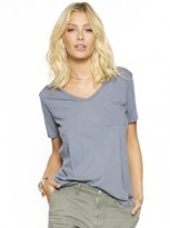 Peace Love World Solid Heather James V-Neck Pocket Tee