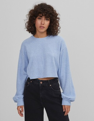 Bershka soft touch ribbed cropped sweat jumper in light blue