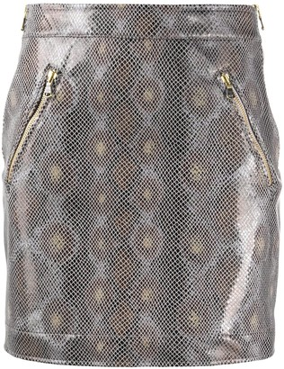 Patrizia Pepe Python-Print High-Waist Skirt