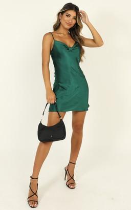 Showpo Take Everything dress in emerald green satin - 6 (XS) NEW