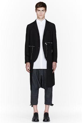 Comme des Garcons Black zipper-trimmed trench coat
