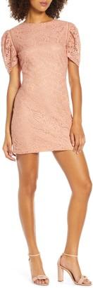 NSR Angelique Puff Sleeve Lace Mini Dress