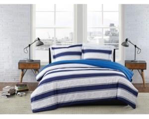 London Fog Watkins Stripe 3 Piece Comforter Set, Full/Queen Bedding