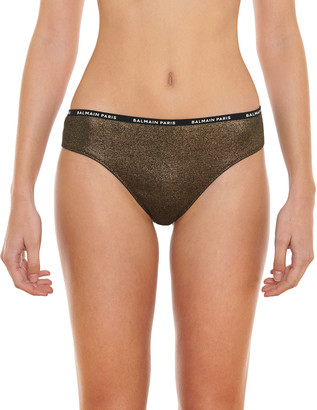 Balmain Metallic Ribbed Cotton Brazilian Briefs