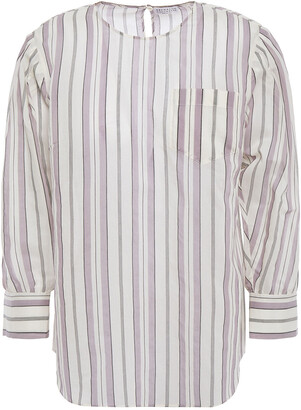 Brunello Cucinelli Bead-embellished Striped Cotton And Silk-blend Top