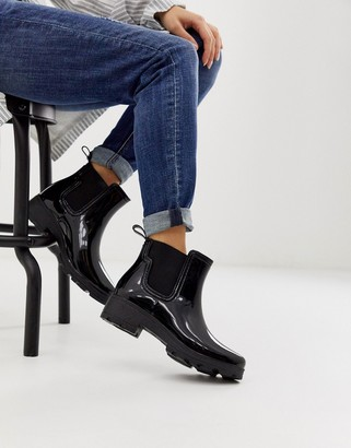 London Rebel chunky chelsea welly in black