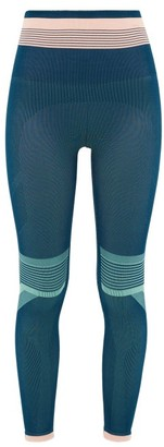 LNDR Solar Stripe-jacquard Jersey Leggings - Womens - Blue Multi