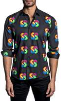 Jared Lang Trim Fit Rainbow Knot Sport Shirt