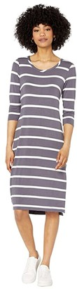 Chaser Cool Jersey Slit Side Midi Dress (Stripe) Women's Dress