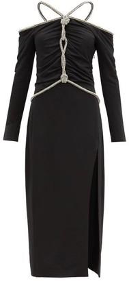 Altuzarra Natsuko Crystal-rope Ruched Jersey Midi Dress - Black
