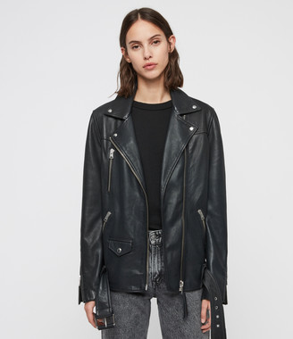 AllSaints Eline Oversized Leather Biker Jacket