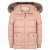 Pyrenex PyrenexGirls Powder Pink Authentic Down Padded Coat With Fur Trim
