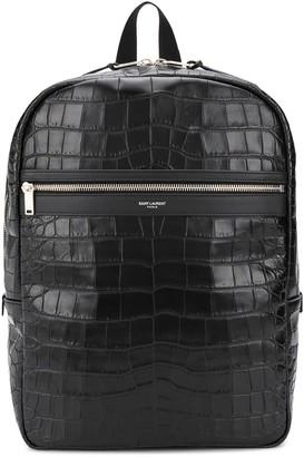 Saint Laurent Laptop City embossed crocodile-effect backpack