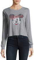 David Lerner Mickey Mouse Long-Sleeve Ribbed Graphic Tee, Gray
