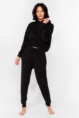 Nasty Gal Womens Morning Meeting Knitted Joggers Lounge Set - Black - S
