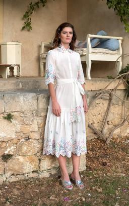 Luisa Beccaria Embroidered Cotton-Blend Shirt Dress