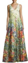 Alice + Olivia Chantal Sleeveless Pleated Floral Jacquard Gown, Multicolor