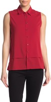 Solid Sleeveless Button Front Blouse