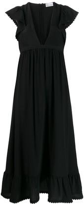 RED Valentino frill detailed V-neck dress