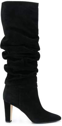 Manolo Blahnik crinkled suede boots