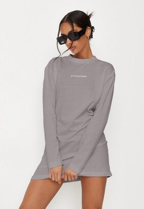 Missguided Gray Basic Long Sleeve T Shirt Dress