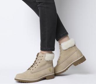 Timberland Slim Premium 6 Inch Fur Cuff Boots Stone Exclusive