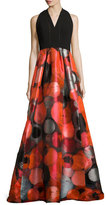 Carmen Marc Valvo Sleeveless Crepe & Taffeta Gown, Red
