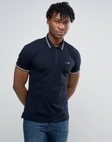 Armani Jeans Polo Shirt With Tipping In Slim Stretch Fit Navy