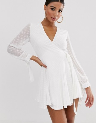 Koco & K wrap frilly skater tea dress in white