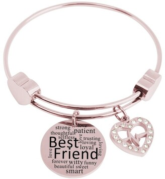 Expandable Hearts Inspirational Bangle with Cubic Zirconia by Pink Box Best Friend Rose Gold