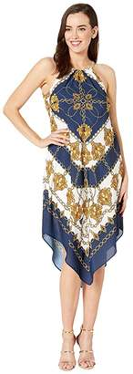 Adrianna Papell Scarf Printed Halter Trapeze Dress