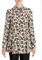 Valentino Pop Flower-Print Silk Blouse