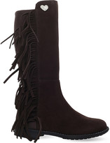 Stuart Weitzman Zia fringe faux-suede boots riding boots 7-9 years