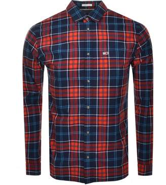Tommy Jeans Long Sleeved Logo Check Shirt Navy